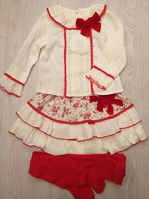 New Winter floral Spanish Girls Skirt Set red & Cream  with tights Age 2 years