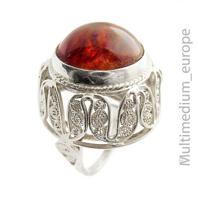 Modernist Bernstein Silber Ring filigran silver ring amber filigree 🌺🌺🌺🌺🌺