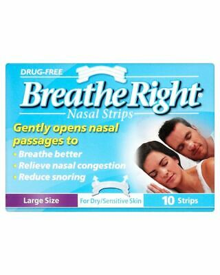 Breathe Right Nasal Strips Clear Large 10 New