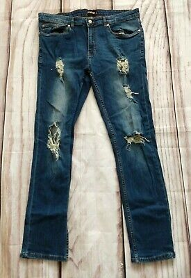 Mens Firetrap Skinny Stretch Jeans Ripped Distressed Mid Blue Size 34 S