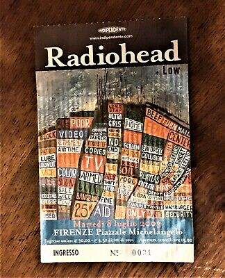 RADIOHEAD 8/7/2003 Piazzale Michelangelo Firenze Italia ticket used + low
