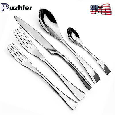 Simple Classic Silver Flatware Cutlery Set Service For 8 Dinner Knives Forks