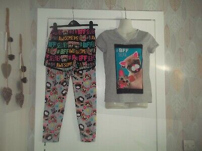 girls long bottom and shorts pyjama set from justice aged 12yrs in good conditio