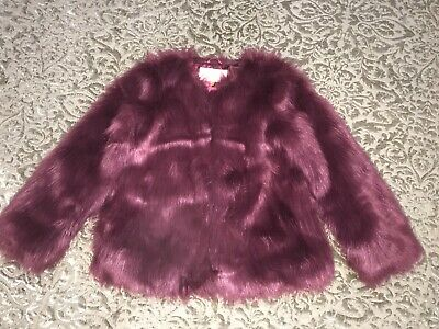 BRAND NEW TED BAKER PINK FUCHIA FAUX FUR GIRLS JACKET COAT AGE 12 Size 6