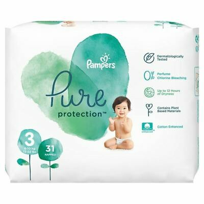 Pampers 31 Nappies Pure Protection Size 3 New