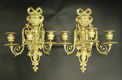 Large Pair Of Sconces 3 Lights, Louis Xvi Style, 19Th - Bronze - French Antique