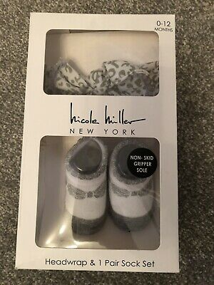 Nicole Miller Baby Girls Socks And Headscarf 0-12months