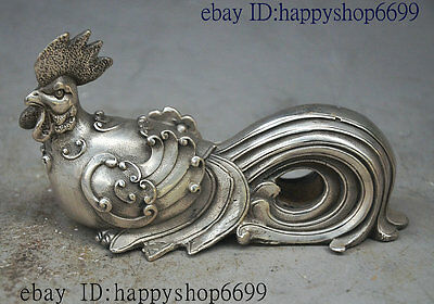 "5"" Folk China fengshui animal Silver Jixiang Wealth Chicken Cock Rooster Statue"