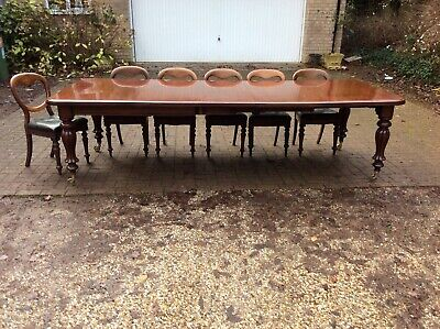 Large Antique Victorian Wind-Out Mahogany Extending Dining Table, seats12/4