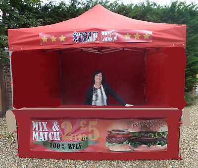 Heavy Duty Mobile Catering Trailer Gazebo Market Stall Fast Food Stall Printed !