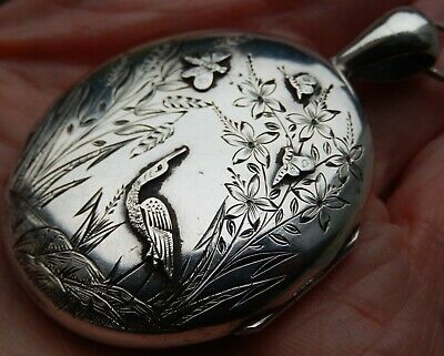 Fine Quality Antique Victorian Solid Silver Aesthetic Locket c1880