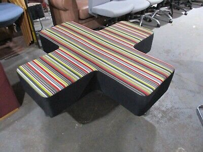 Allermuir Jaks Cross shaped seating unit. Multi Coloured Breakout Seating