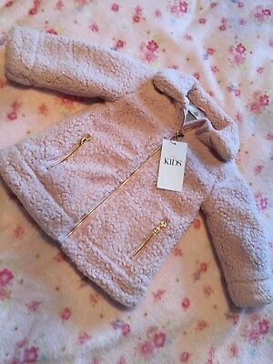 NEW Girls M&S Pink Fluffy Coat Age 1-1.5years