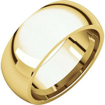 8mm 18K Solid Yellow Gold Plain Dome Half Round Comfort Fit Wedding Band Ring