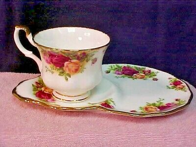 Royal Albert Old Country Roses Footed Tea Cup Dessert/Tennis/Luncheon Plate Set