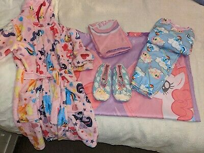 My little Pony bundle Age 8 Dressing gown PJs Slippers size 1 Duvet cover