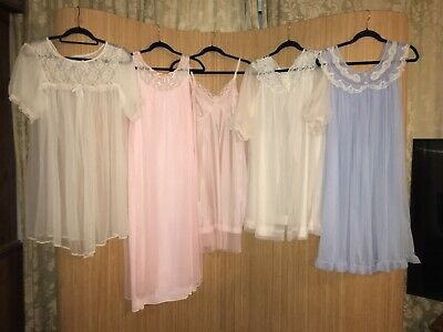 Beautiful Job Lot Of M/L Double Nylon And Vintage Night Gowns/ Full Slip#C14