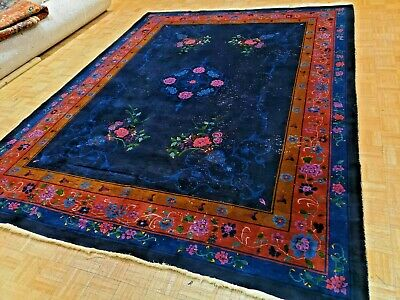 9x12 CHINESE RUG ANTIQUE ART DECO NICHOLS AUTHENTIC HAND-MADE ORIENTAL RUG 1930