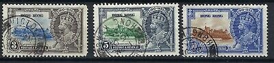Hong Kong KG V 1935 Silver Jubilee 3, 5, & 10 Cent USED STAMPS.SEE SCANS.