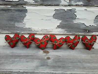 Primitive Christmas Red Christmas Tree Heart Ornies Bowl Fillers Decor