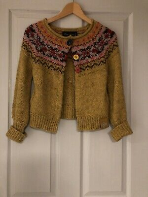 Cute Ladies Size 8 Mustard Mix Chunky Knit Cardigan With Alpaca By River Island