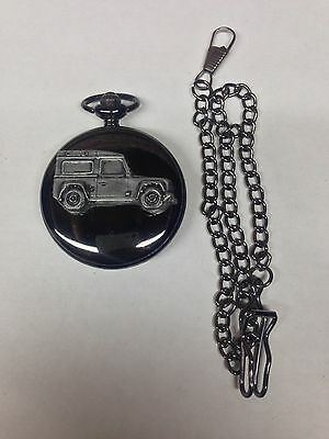 Defender ref115 emblem polished black case mens pocket watch