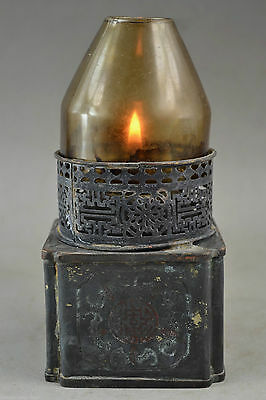 Old Collectibles chinese Handwork Copper Carving Flower Usable Big Rare Oil Lamp