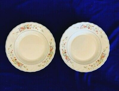 """2 Large Table Charm Arcopal France Victoria Pattern Rimmed Soup Bowls 9"""""""
