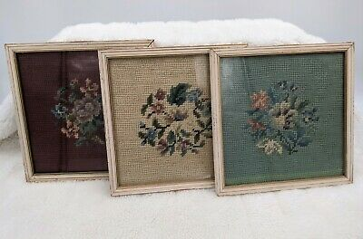Vintage, framed floral Cross stitch, embroidered pictures