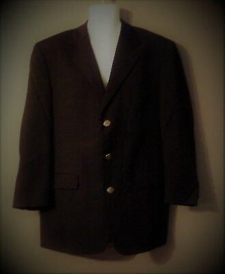 MENS GIANFRANCO RUFFINI Black Worsted WOOL BLAZER SPORT COAT SIZE 42L