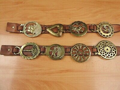 8 X Vintage Martingale  Horse Brasses. The Large Ones On Leather Straps.