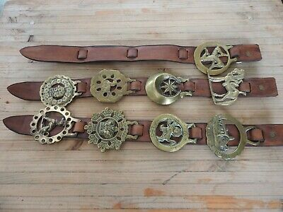 9 X Vintage Martingale Horse Brasses. The Large Ones On Leather Straps.