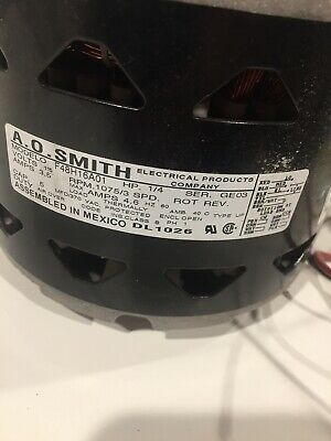 Rx-1276, New A.o. Smith F48H16A01 Direct Drive Blower Motor. 1/4Hp. 1075Rpm. 1Ph