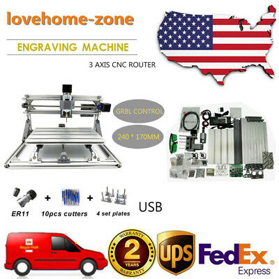 3Axis 2417CNC Mini Engraving Milling Router Wood Carving Marking Machine USB 60W