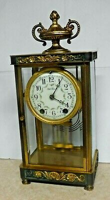 ANTIQUE SETH THOMAS EMPIRE No. 5 CHIME CLOCK CRYSTAL REGULATOR 8 DAY WORKING
