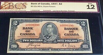 Scarce Low Number 390 - 1937 Bank Of Canada $2 Banknotes  Seldom Seen This Low
