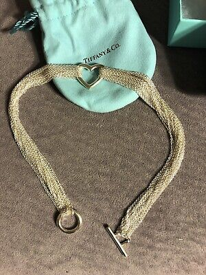 Tiffany & Co Sterling Silver 925 Multi Chain Heart Necklace With Box And Pouch