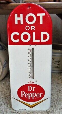"Original 1950's Dr. Pepper 'Hot or Cold' Soda 16-3/16"" Advertising Thermometer"