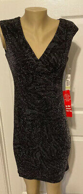 RM Richards Black Silver Metallic Ruched Party Dress Size 4 Petite. NWT