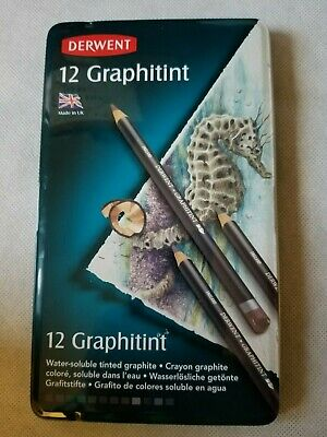Derwent 12 Graphitint Water Soluble Tinted Graphite Art Drawing Pencils LOOK!