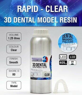 Rapid Model Dental UV Resin - CLEAR (1.25LTR)