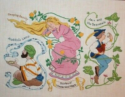 "Dimensions 1981 ""Fairy Tales"" Linda Powel Crewel Embroidery Completed Finished"
