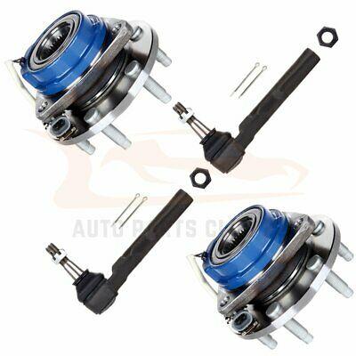 4 x Front Wheel Hub and Bearing Assembly ABS 6 Bolt + Outer Tie Rod Ends Kit