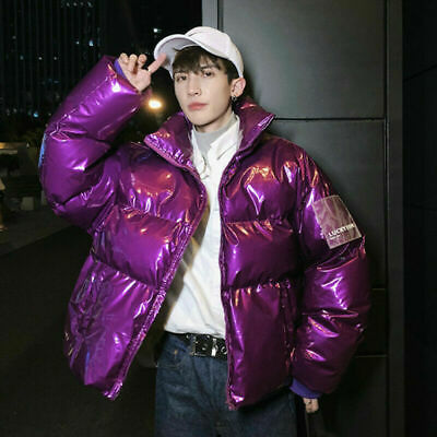 New Men Quilted Puffer Coat Jacket Parka Metallic Wet Look Padded Outerwear Punk