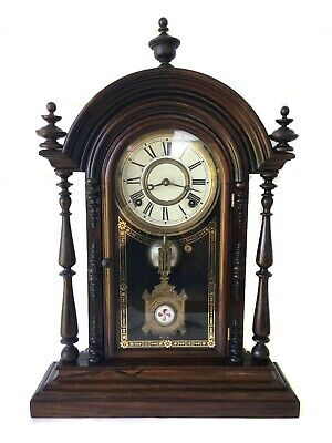 Wonderful Rare Parepa Antique 8 Day American Strike Shelf Clock By E. N Welch