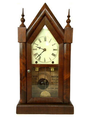 Antique Gothic Steeple 8 Day American Strike Shelf Clock - Jerome & Co New Haven