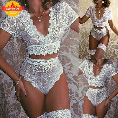 Womens Sexy Sissy Lace Crop Tops Bra Bralet Lingerie Underwear Set Nightgown