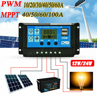 12V/24V Solar Panel Battery Regulator Charge Controller 30A PWM MPPT LCD 10-100A