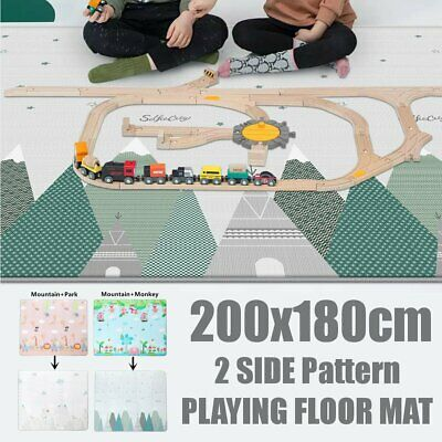 200x180cm Foldable Baby Kids Crawling Thick Play Cover Mat Rug Floor Carpet Game