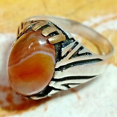 vintage 925 Sterling Silver natural unheated multi color agate aqeeq akik